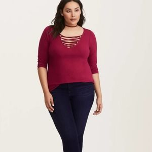 Torrid Deep V Lace Up Top Burgundy 3/4 Sleeve
